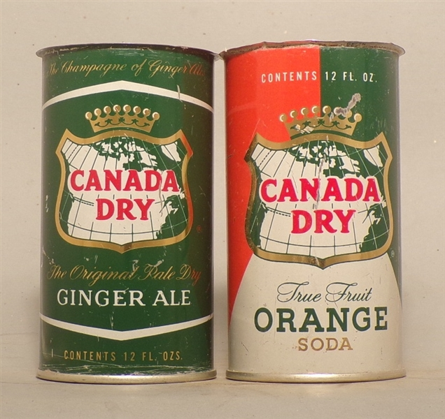 2 Canada Dry Flat Tops from the Wind Tunnel Find