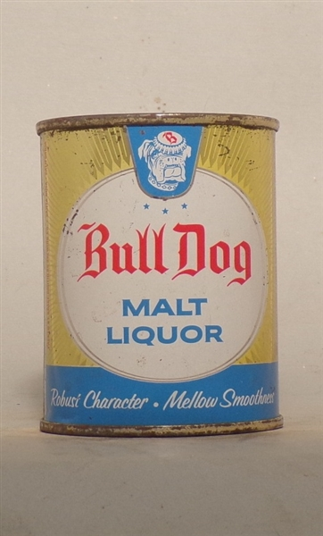 Bull Dog Malt Liquor 8 Ounce Flat Top, Grace Bros. Santa Rosa, CA