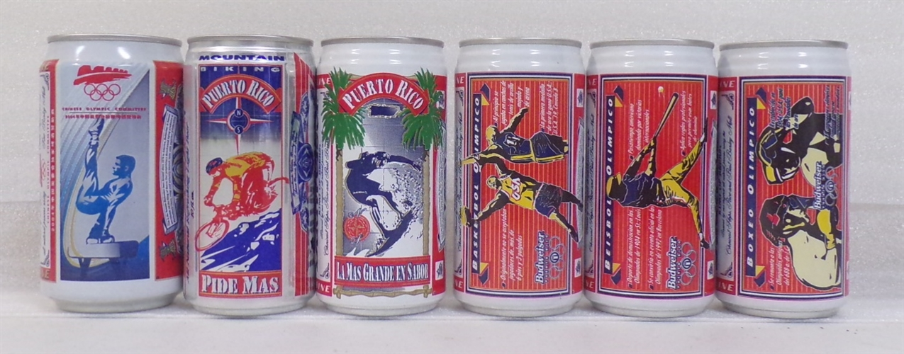 6 Aluminum Budweiser Sports Cans #2 (Olympics)