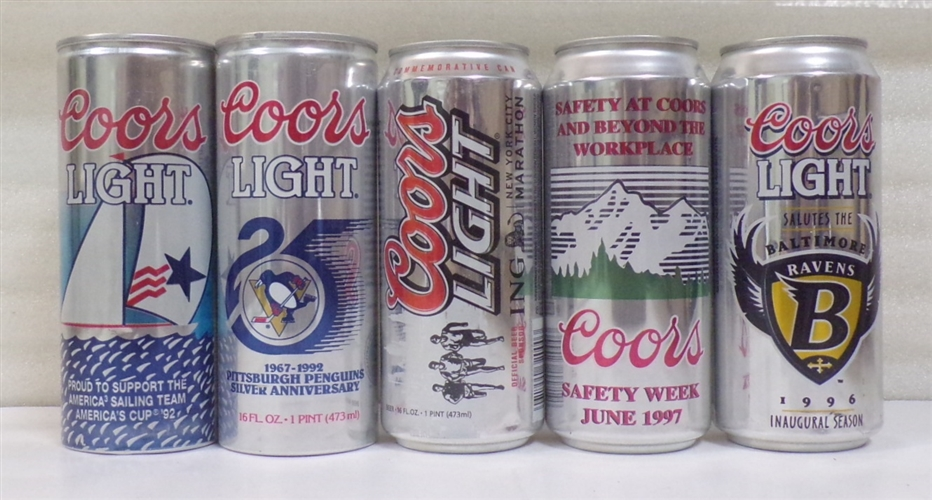 6 Coors Light 16 Ounce Aluminum Sports Cans
