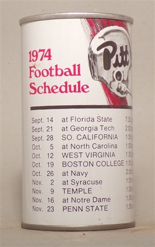 Iron City 1974 Pitt Football Schedule Tab Top, Pittsburgh, PA